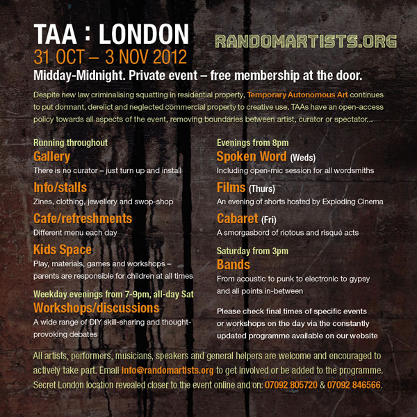 TAA London 2012 flyer back